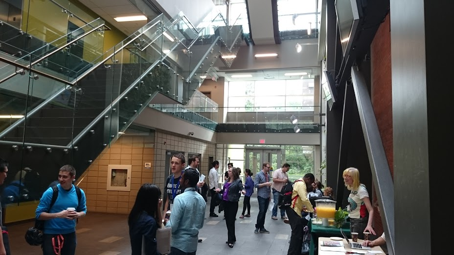 The main atrium of the Environment 3 Building at the University of Waterloo between sessions at Geothink's Summer Institute.