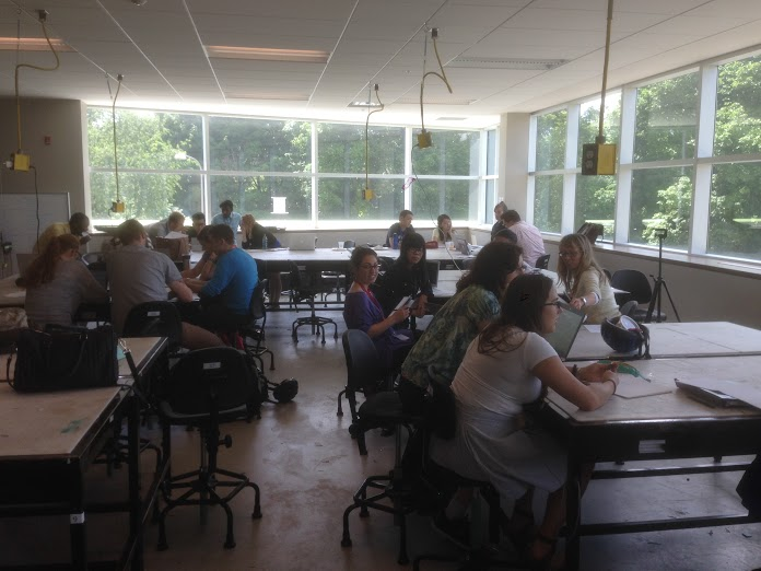 Time for each of the seven competing teams to meet and work on their proposals in the upstairs classroom of the Environment 3 Building at the University of Waterloo during Geothink's Summer Institute.