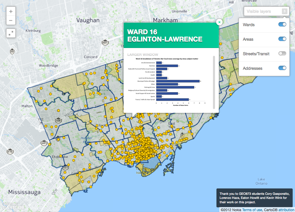 Local News Research Project map of Toronto news coverage