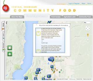screenshot of local food map interface