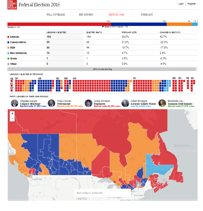 Screenshot of Globe and Mail election results map