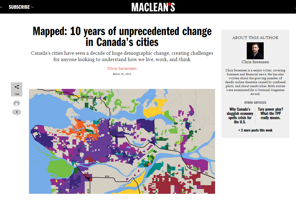 Screenshot of Maclean's feature on changing cities