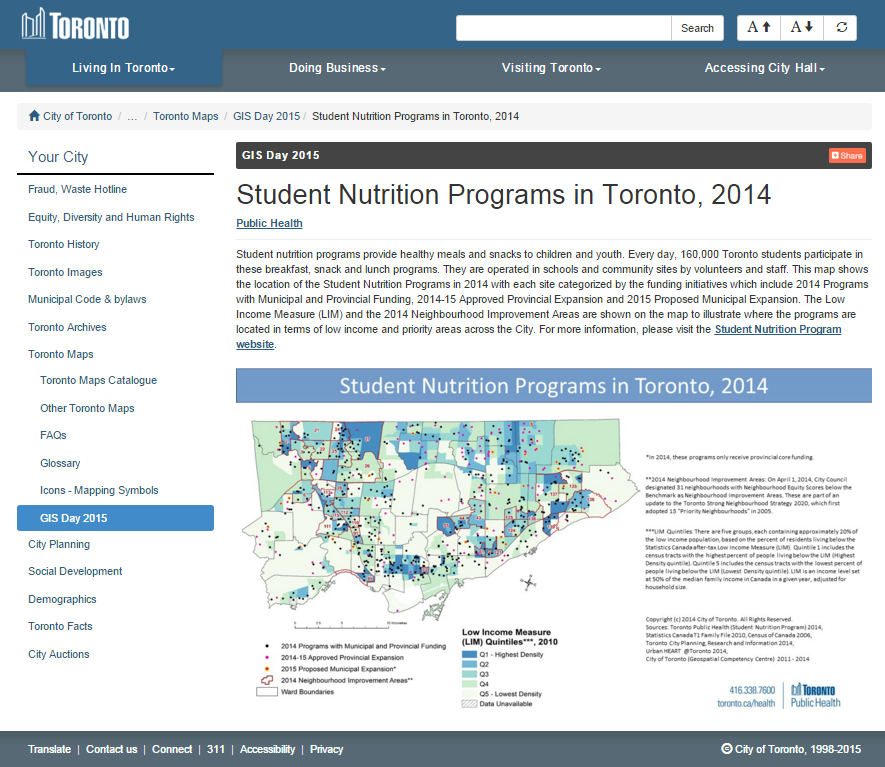 Map of Toronto school nutrition program distribution