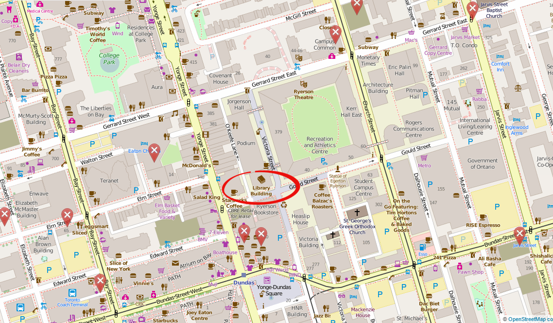 Map showing Ryerson campus