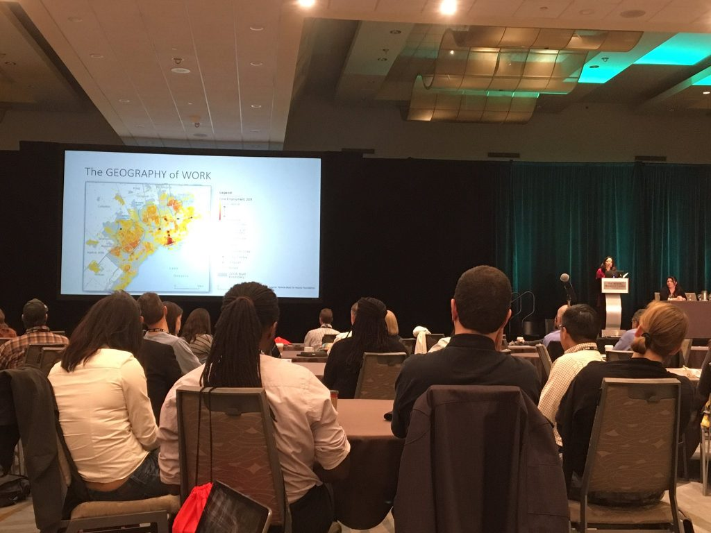 A talk at the GIS Pro 2016 conference. Photo credit: Claus Rinner